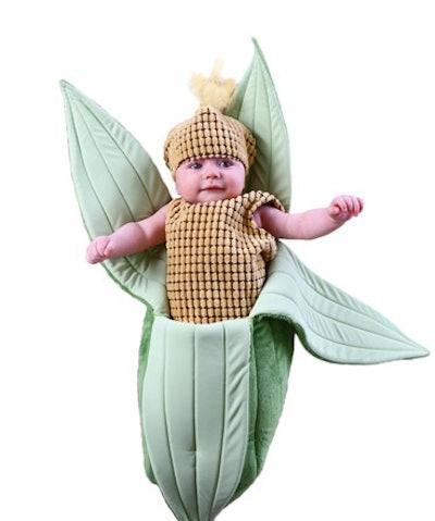 Baby wearing ear of corn Halloween costume