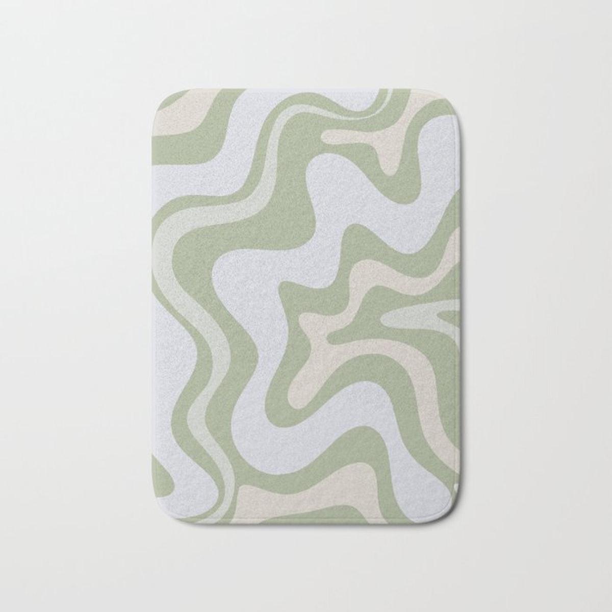 Liquid Swirl Contemporary Abstract Pattern in Light Sage Green Bath Mat