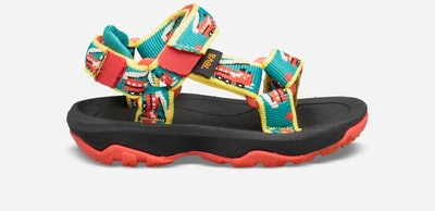 toddler Tevas in a fire truck print