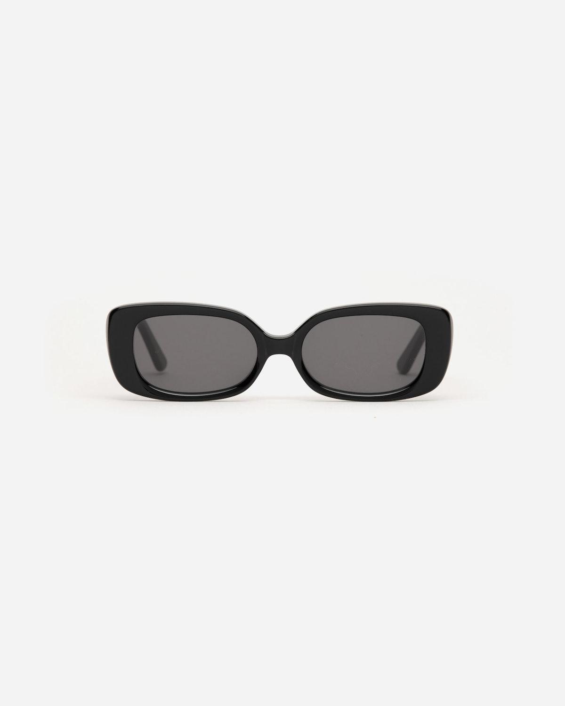 Velvet Canyon Zou Bisou rectangular sunglasses in black.
