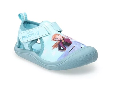 a toddler water shoe featuring anna and elsa from Frozen