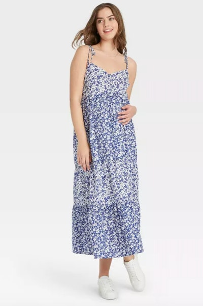 maternity blue floral flowy dress from hatch x target
