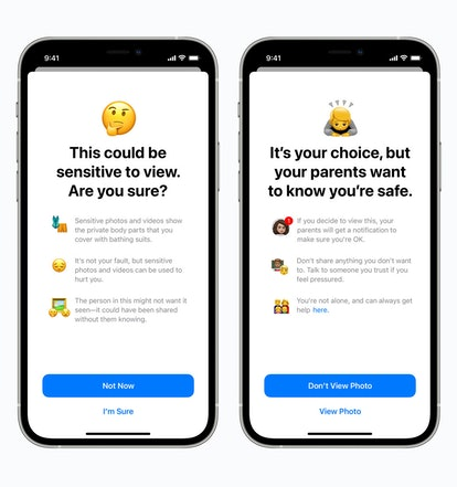 Side-by-side images of iPhone screens show how children will be warned when they receive images Appl...