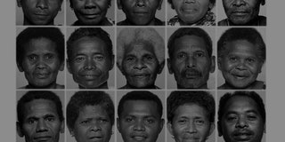Grid of black-and-white portraits of Negrito population from the Philippines.