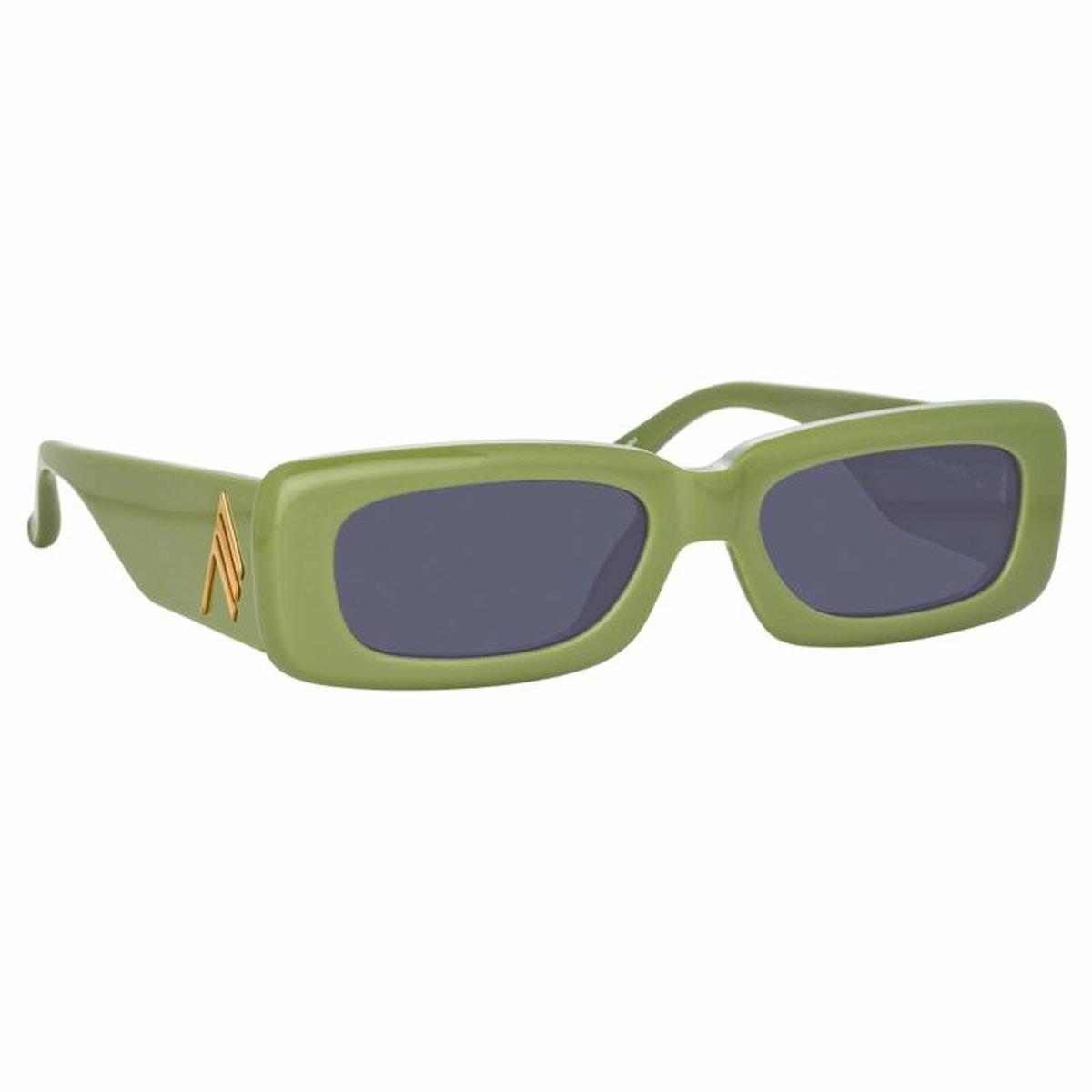 Green Mini Marfa sunglasses from Linda Farrow x THE ATTICO collaboration.