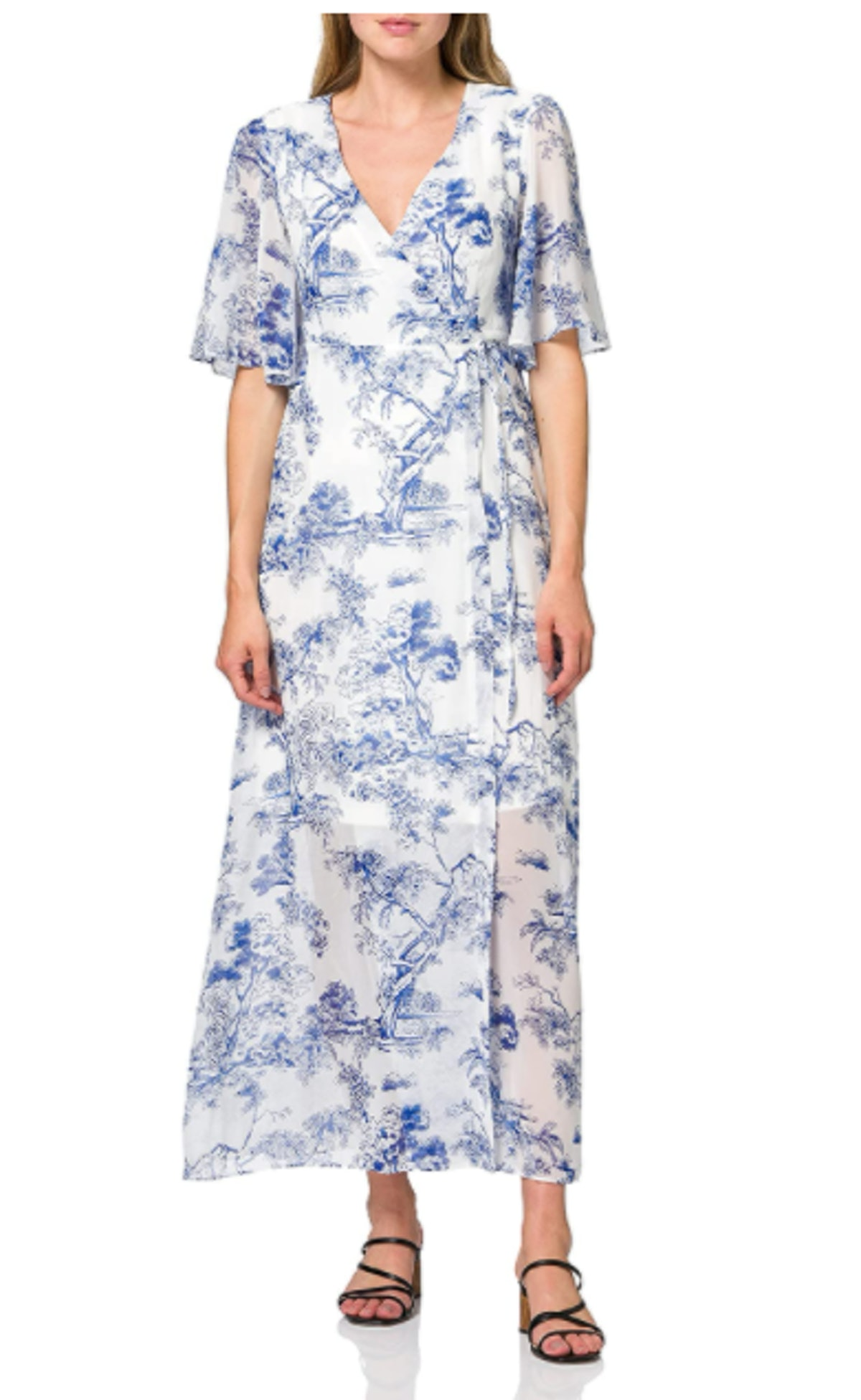 Truth & Fable Chiffon Wrap Dress With Bell Sleeves