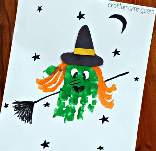A handprint witch is one Halloween handprint art idea to try.