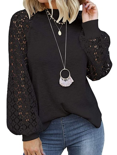 MIHOLL Lace Long Sleeve Blouse