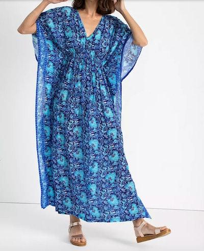 flowy kaftan dress in blue print