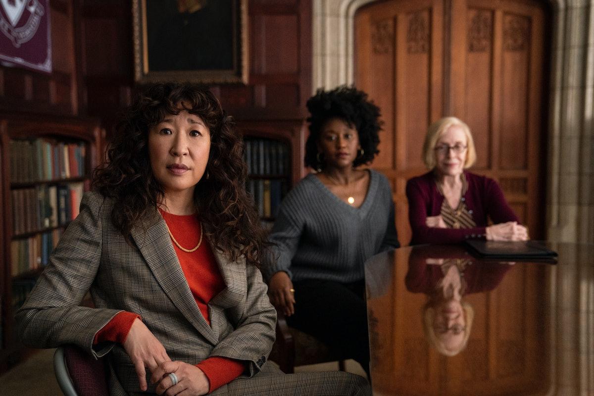 SANDRA OH as JI-YOON, NANA MENSAH as YAZ, and HOLLAND TAYLOR as JOAN in THE CHAIR