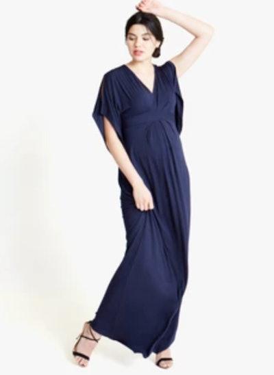 long drapey modal and spandex navy blue maternity dress