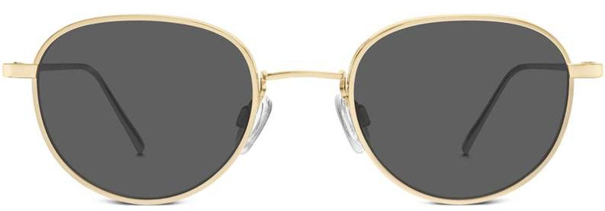 Warby Parker Mercer sunglasses in Polished Gold.