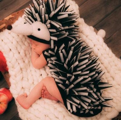 Baby dressed in a hedgehog costume