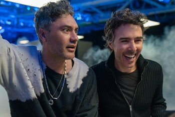 Director Shawn Levy with Taika Waititi, who plays an evil video game CEO.