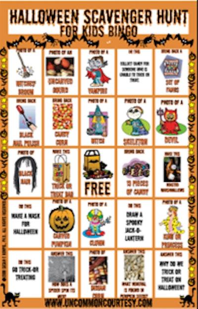 Halloween Scavenger Hunt Bingo