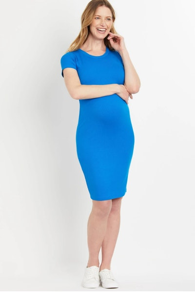 bright blue maternity tshirt dress in a ribbed fabric