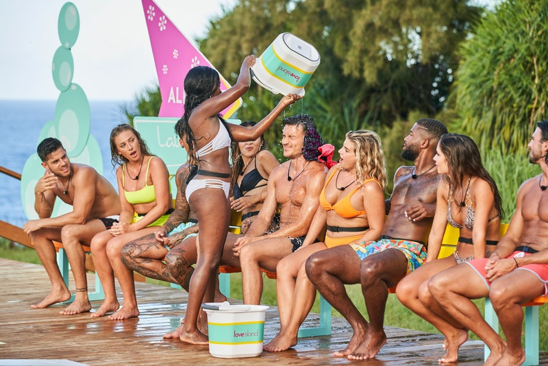 The 'Love Island US' Season 4 cast participating in a dating game.