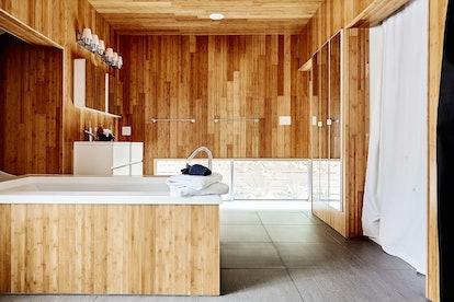 luxury Airbnb bathroom in Austin, Texas.