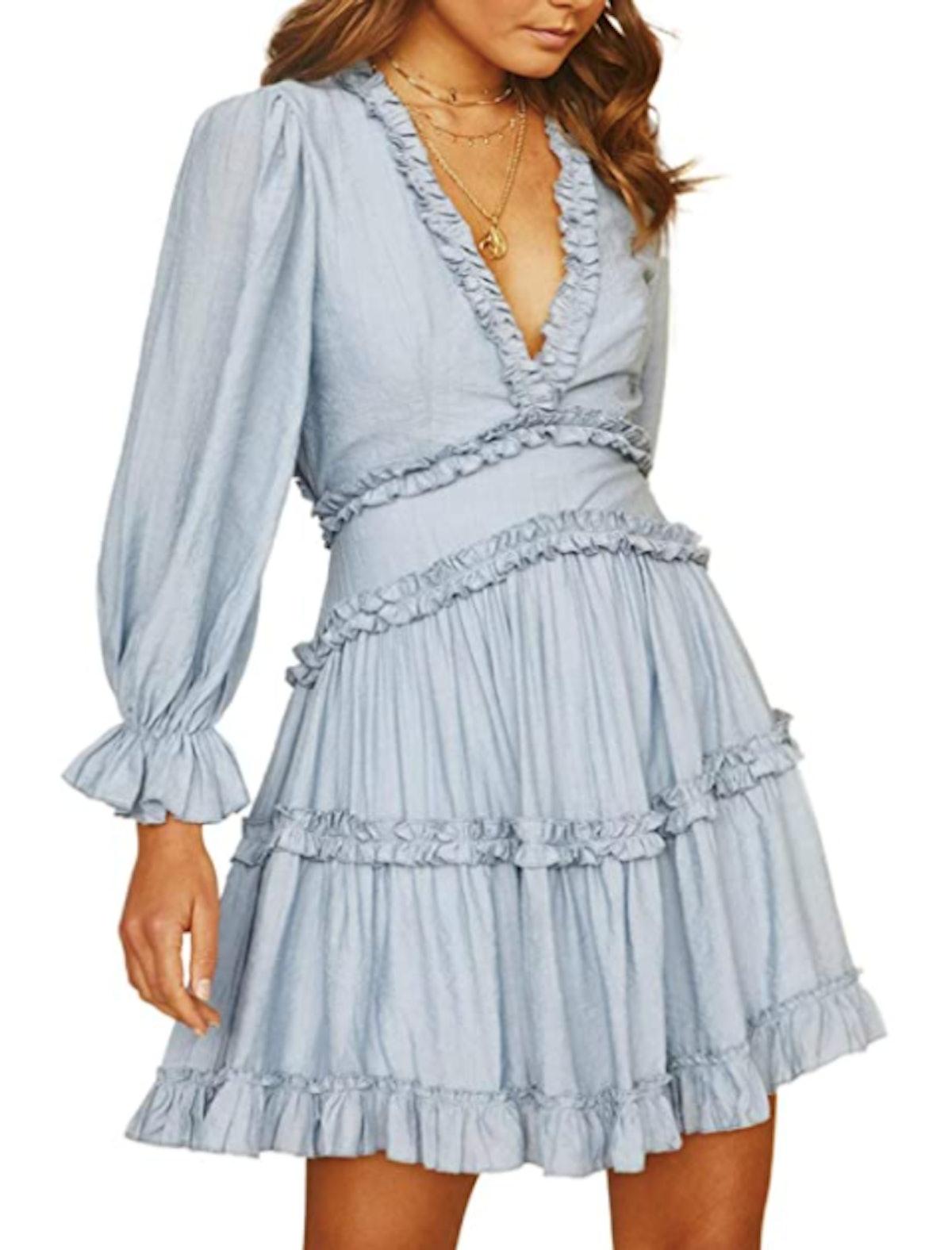 Dokotoo Ruffle Long Sleeve Mini Dress