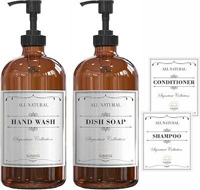 SUNRISE Glass Hand Dish Soap Dispenser (2-Pack)