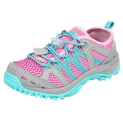 closed toed hiking and water shoe in pink and teal with stretch laces