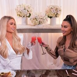 "Paris Hilton and Kim Kardashian during Netflix's ""Cooking With Paris."""