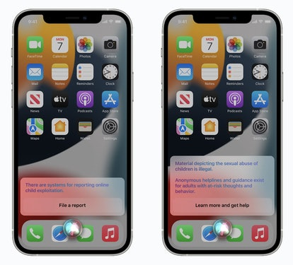 Side-by-side images of iPhone Home screens show how users will be given resources to help when they ...