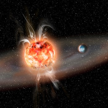Violent outbursts of boiling hot gas from young red dwarf stars could potentially evaporate the atmo...