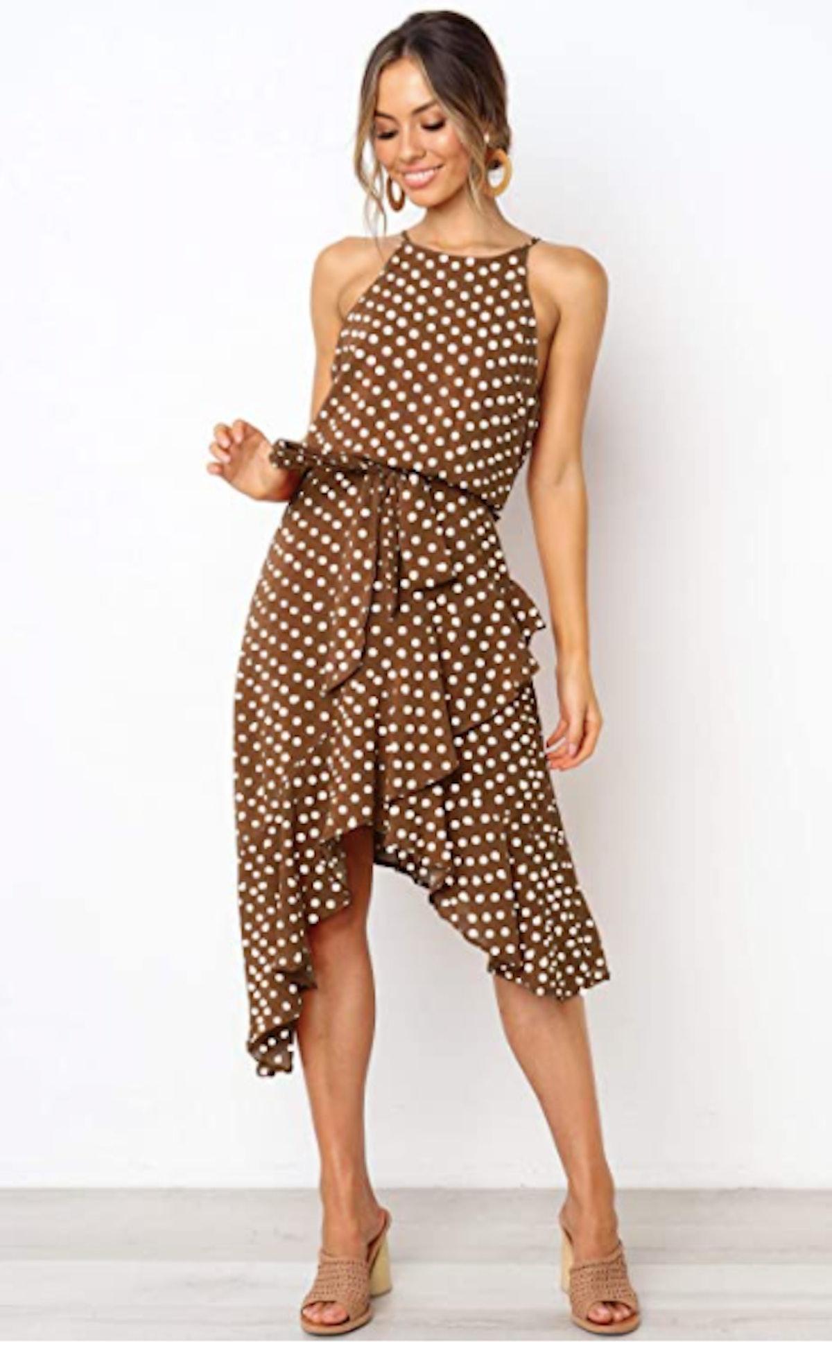 ECOWISH Tie Waist Halter Neck Midi Dress
