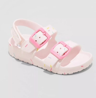 pink toddler water shoe with sprinkle print and back strap