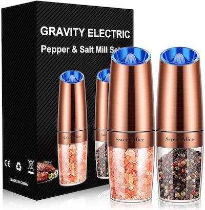 Sweet Alice Gravity Electric Pepper and Salt Grinder Set