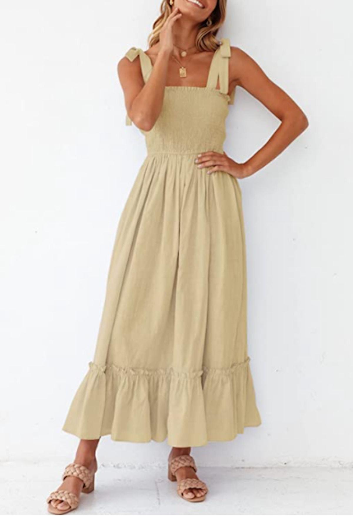 ZESICA Square Neck Ruffle Maxi Dress