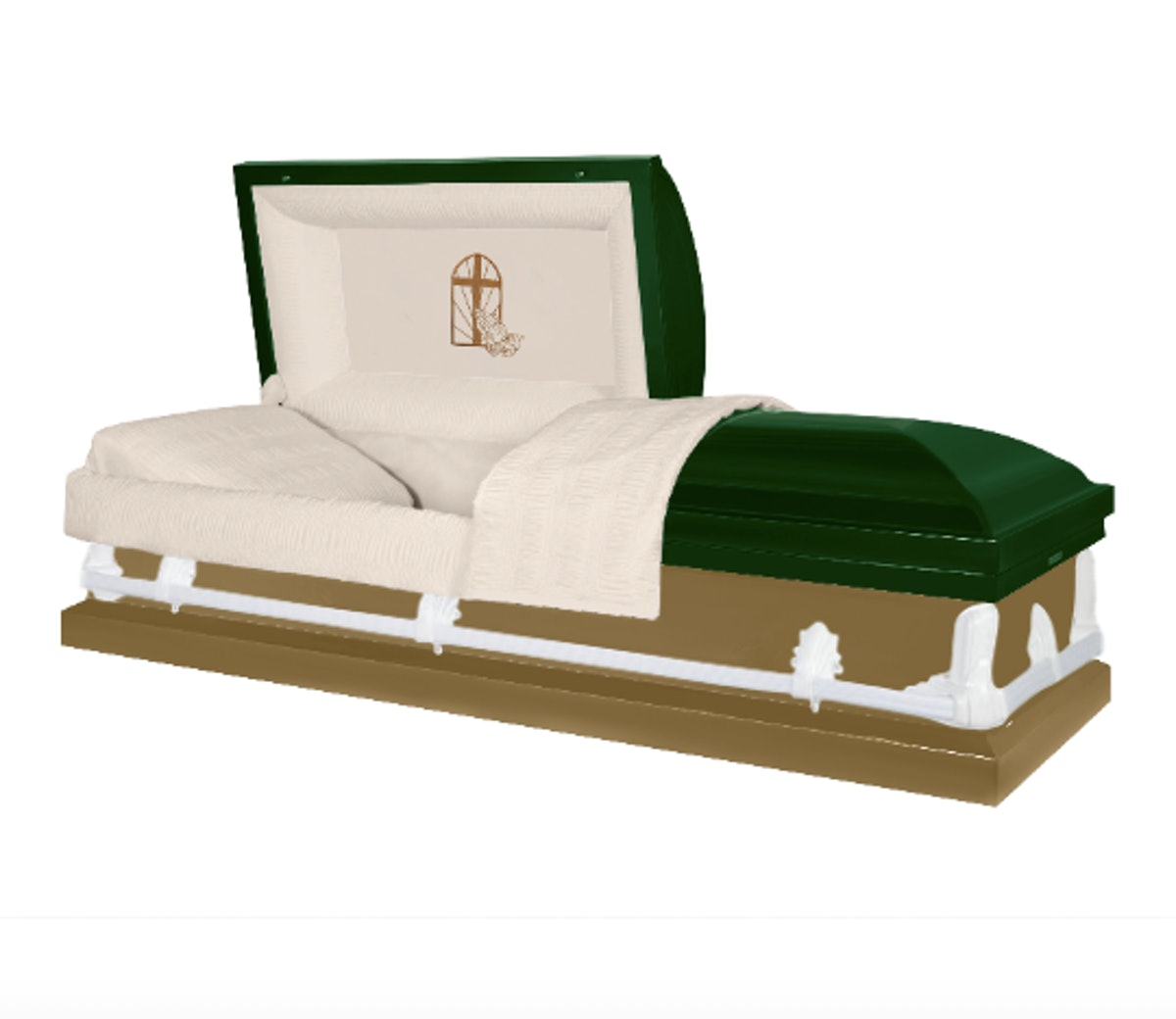 Green and brown color-blocked coffin with with white hardware and a prayer emoji in a church window ...
