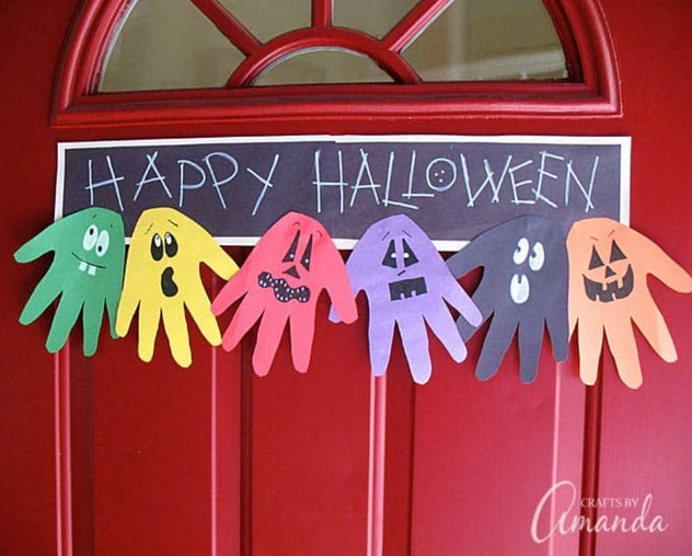 A ghoul handprint banner is one Halloween art idea to make.