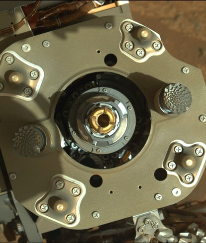 This enhanced-color image from the Mastcam-Z instrument aboard NASA's Perseverance rover shows sampl...