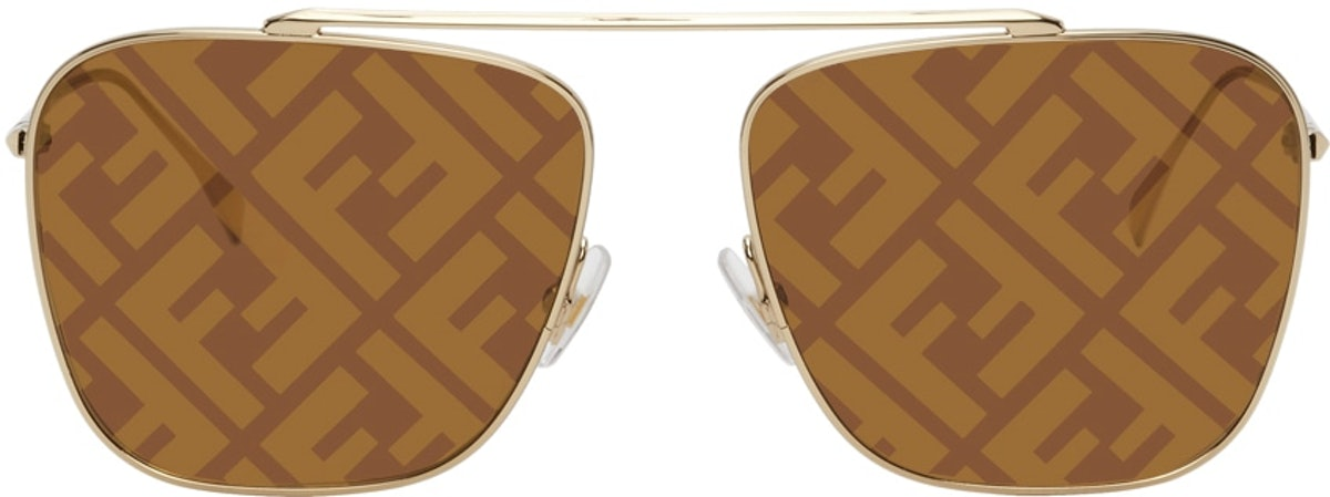Gold 'Forever Fendi' Aviator Sunglasses from Fendi, available to shop on SSENSE.