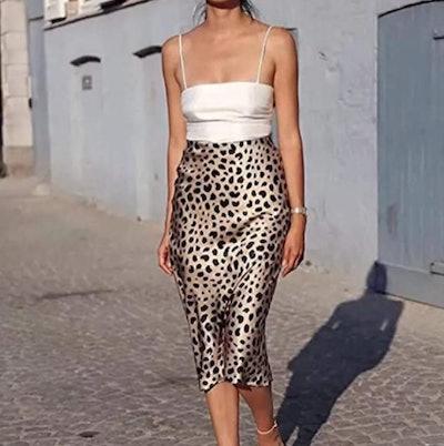 Soowalaoo Leopard Midi Skirt