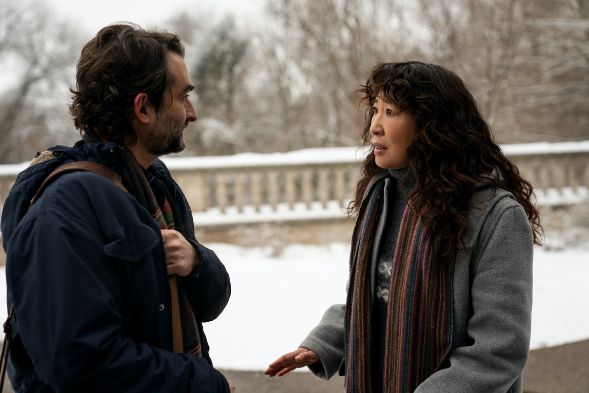 JAY DUPLASS as BILL and SANDRA OH as JI-YOON in episode 101 of THE CHAIR