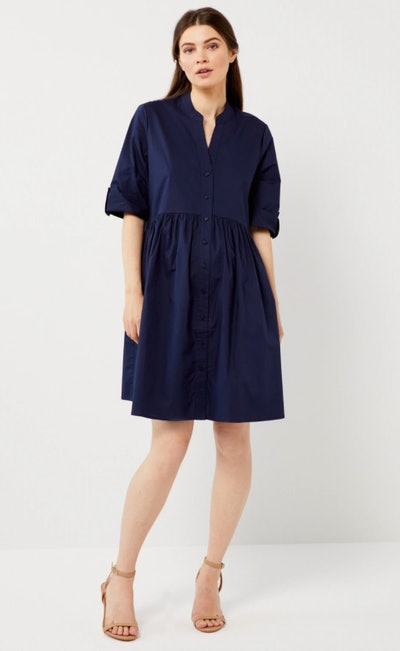 navy blue striped maternity dress