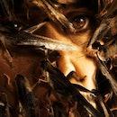 Locusts swarm a woman's face