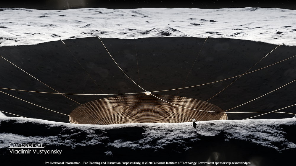 The lunar radio telescope will be suspended in a deep crater on the far side of the Moon, away from ...