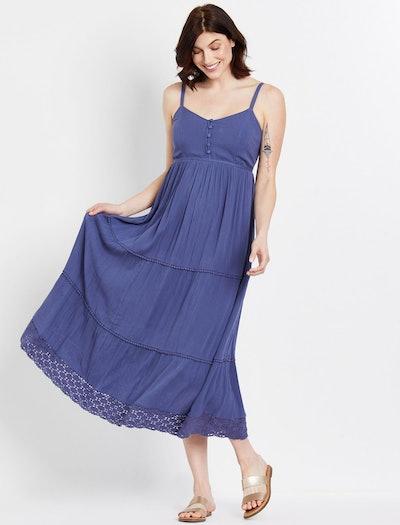 blue flowy maternity dress with crochet hem detail