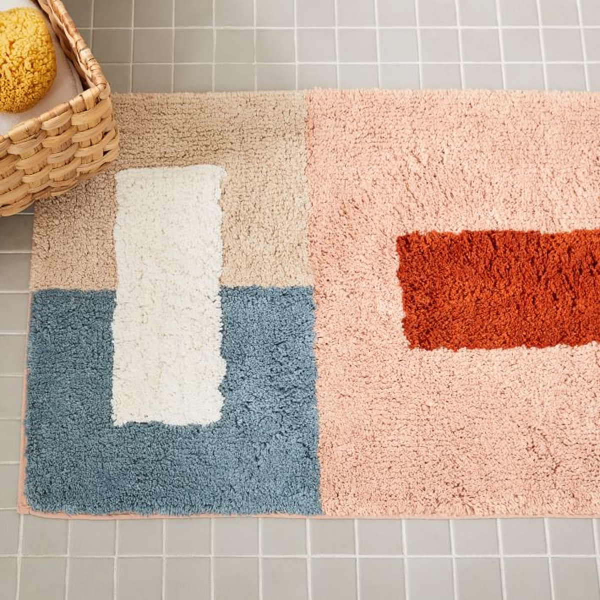 Organic Colorblock Bath Mat