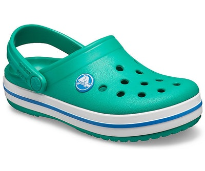 Kids crocs with back strap in green with blue accents
