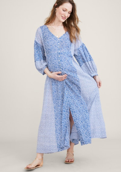 button up blue flowy maternity dress in patchwork print