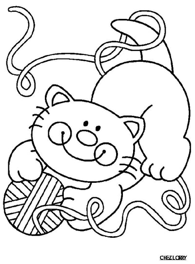 Cat coloring page; smiling cat playing with a ball of yarn