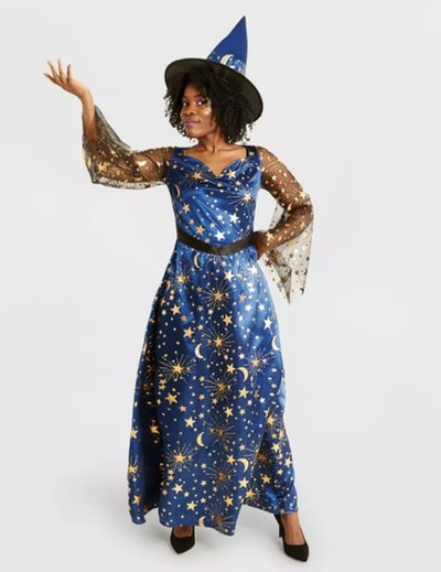 Adult Navy Moonlight Witch Halloween Costume with Hat