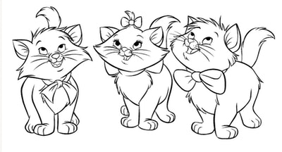 """Cat coloring page; three kittens from """"The Aristocats"""""""