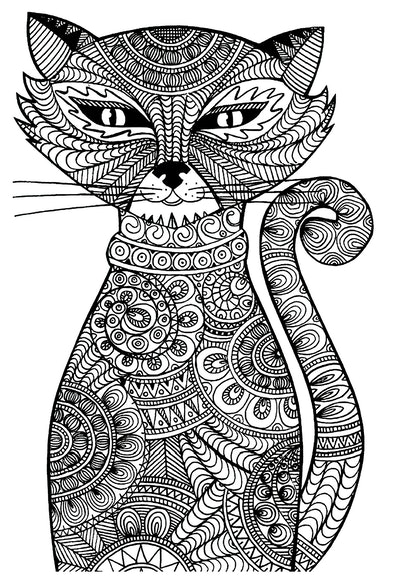 Adult cat coloring page; cat looking head-on, filled with lots of small details and designs