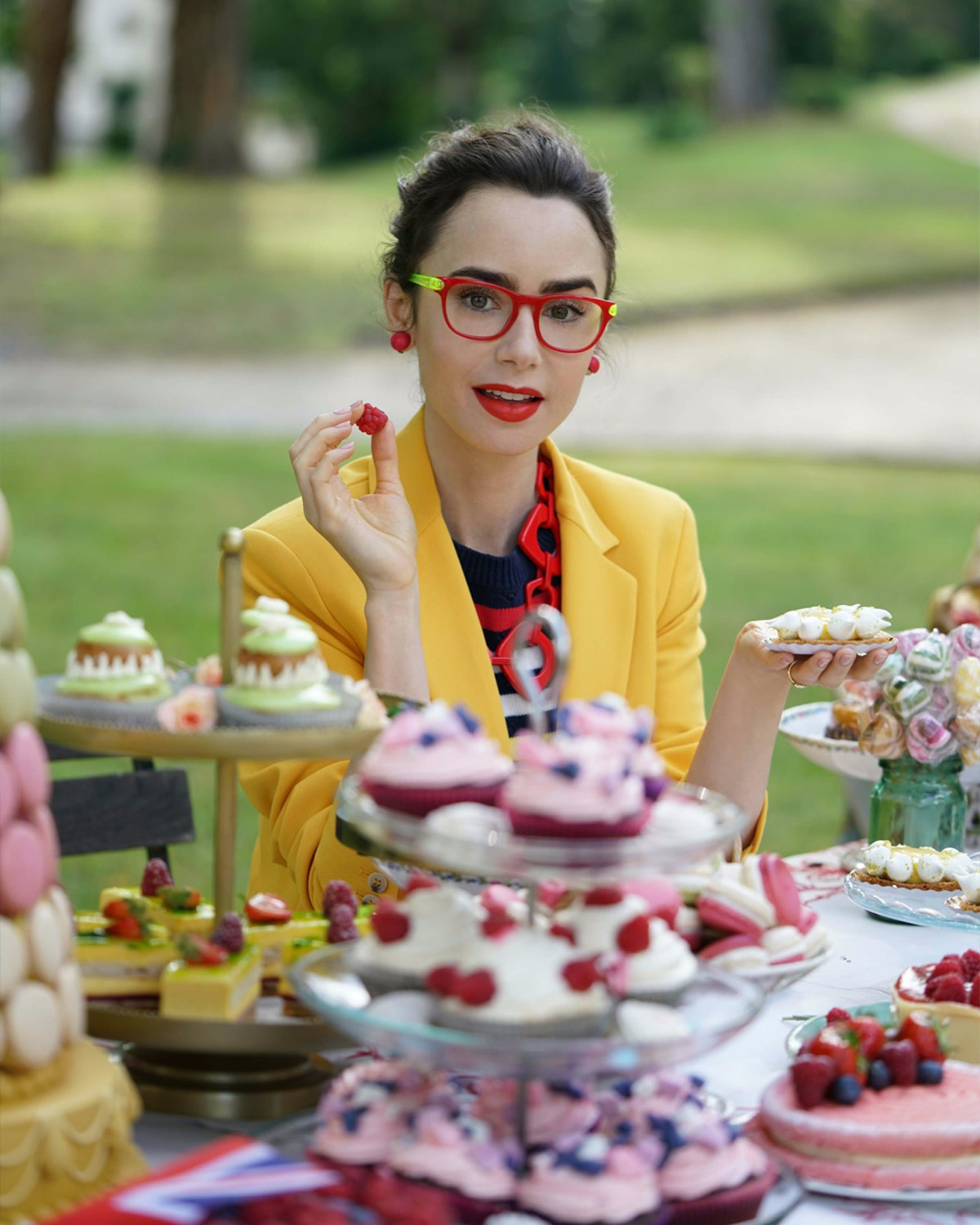 Lily Collins as Prue Leith from The Great British Baking Show